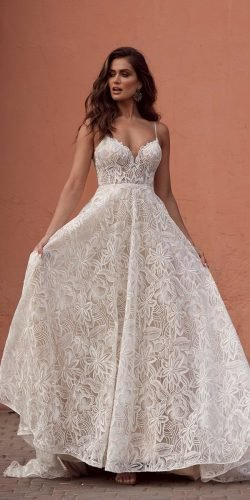 best wedding dresses a line with spaghetti straps summer beach madilane