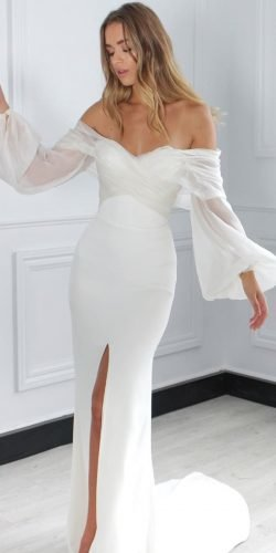 best wedding dresses sheath simple off the shoulder long sleeves onedaybridal