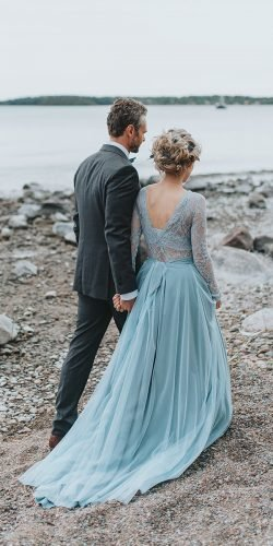 blue wedding dresses a line with lace top long sleeves snowflake