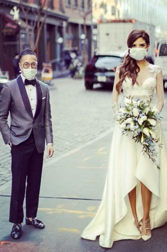 bridal survival guide bridal couple in surgical face mask clanegessel