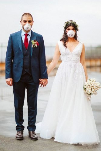 bridal survival guide real wedding couple in surgical face mask maroun_chedid