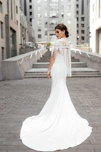 bridal survival guide wedding dress with a train and a fringe wona nyc