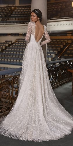 long sleeve wedding dresses a line v back with long sleeves pronovias