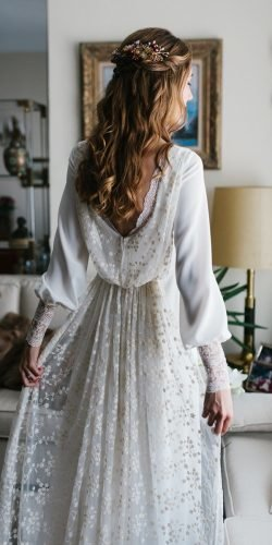 long sleeve wedding reek dresses a line low back boho glorenasanjose