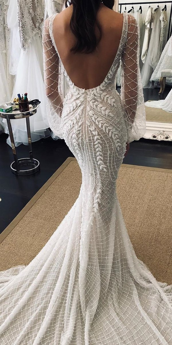 mermaid wedding dresses low back with long sleeves train leahdagloria