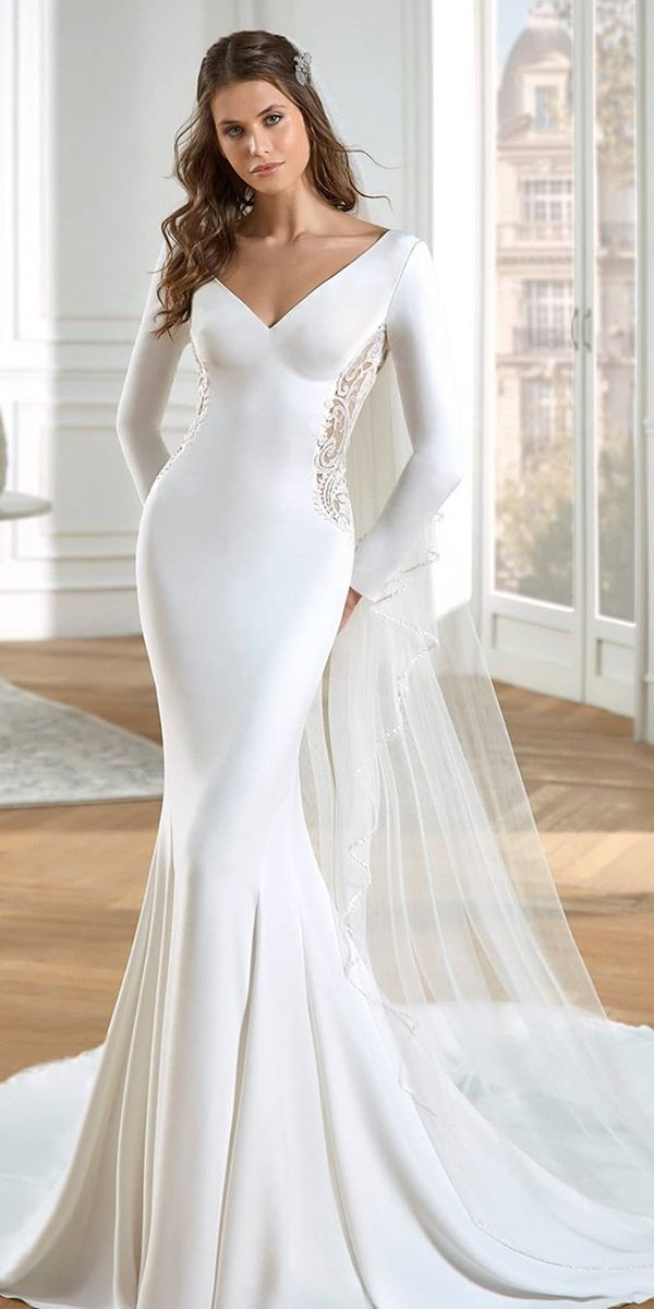 mermaid wedding dresses simple with long sleeves v neckline sweetheart stpatrick