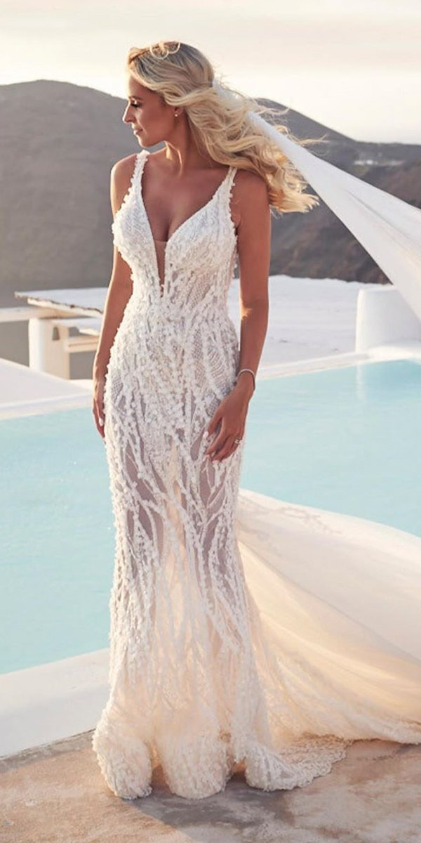 mermaid wedding dresses sweetheart neckline beach sexy with straps pallascouture
