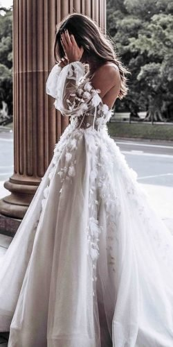 off the shoulder wedding dresses ball gown backless floral appliques leah da gloria