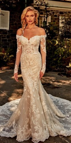 off the shoulder wedding dresses mermaid sweetheart neckline lace eveofmilady