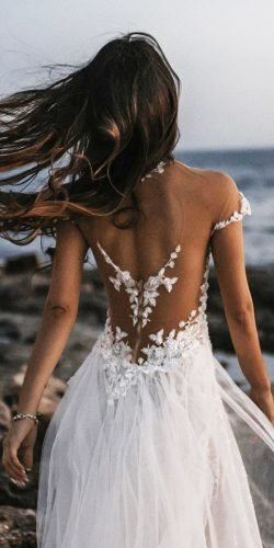 tattoo effect wedding dresses illusion open back floral appliques tali photography