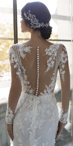 effect wedding dresses with illusion long sleeves buttons details pronovias
