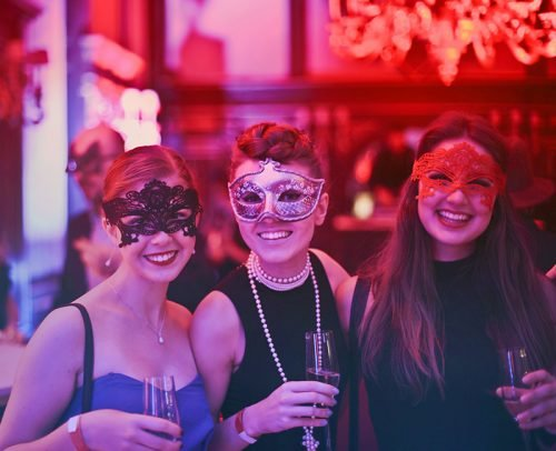 wedding party entrances ideas photo of women wearing masks