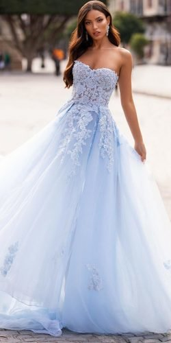 blue wedding dresses a line sweetheart neckline lace top alamourthelabel