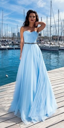 blue wedding dresses a line sweetheart neckline strapless neckline ariamo