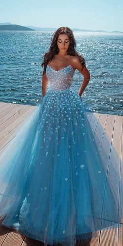 blue wedding dresses strapless neckline tulle skirt saidmhamad