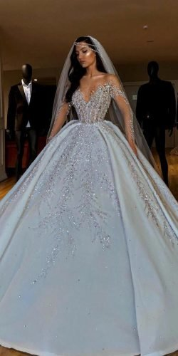 disney wedding dresses ball gown with long sleeves sequins valdrinsahitiofficial