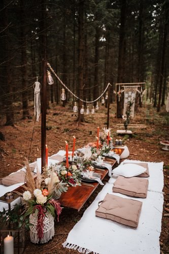 forest wedding styled shoots reception boho table fotografie danielaebner