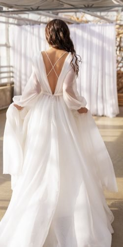 long sleeve wedding dresses a line v back simple romantic dream and dress