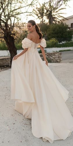 off the shoulder wedding dresses a line low back with puff sleeves arivilloso