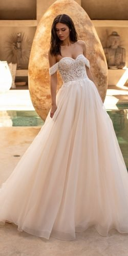 off the shoulder wedding dresses a line sweetheart neckline lace top blush pronovias