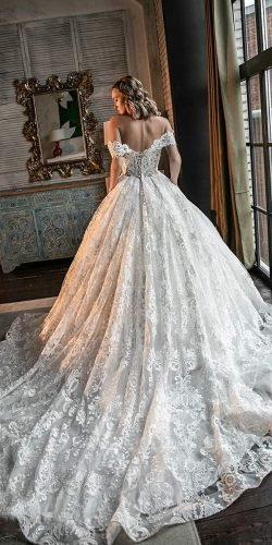 off the shoulder wedding dresses ball gown lace train olivia bottega