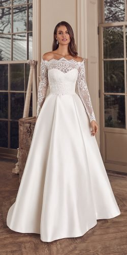 off the shoulder wedding dresses lace with long sleeves a line modest justin alexander