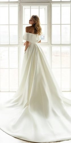 off the shoulder wedding dresses simple with overskirt train eva lendel