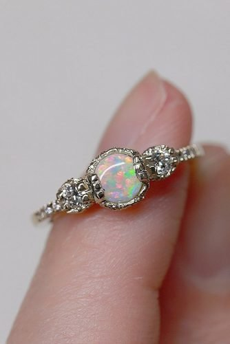 opal engagement rings round cut opal pave band diamonds