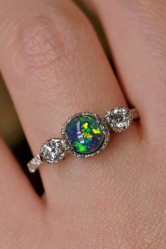 opal engagement rings three stones opal diamonds