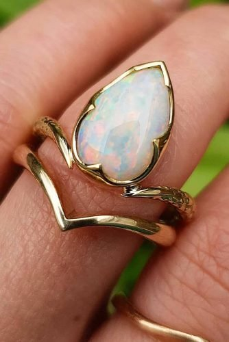 opal engagement rings unique yellow gold modern