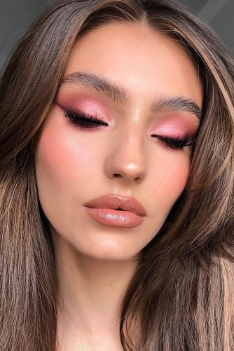 pinterest makeup for brides fresh pink eyeshadows with arrows and long lashes claudianeacsu