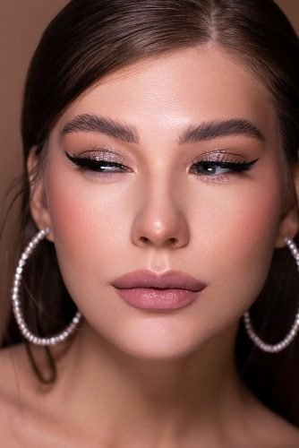 pinterest makeup for brides sparkle eyeshadows arrows matte pink lips sofia_baburina