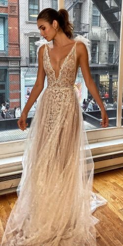 rustic wedding dresses a line sexy lace deep v neckline beach berta