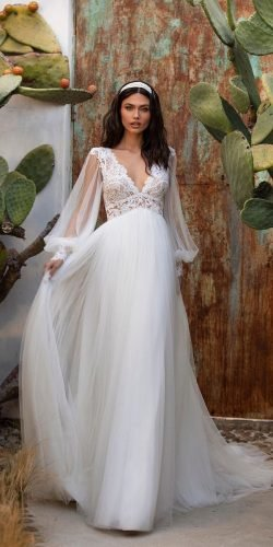 rustic wedding dresses a line with long sleeves lace top pronovias