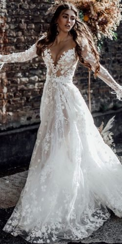 rustic wedding dresses a line with long sleeves sweetheart lace galia