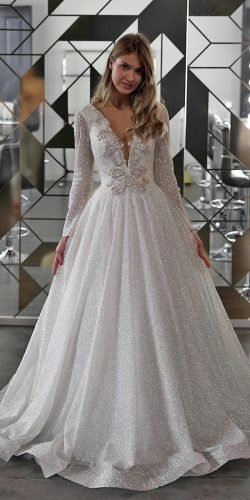 vintage inspired wedding dresses a line with illusion long sleeves sequins bottega
