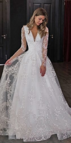 vintage inspired wedding dresses a line with long sleeves lace jeweled olivia bottega