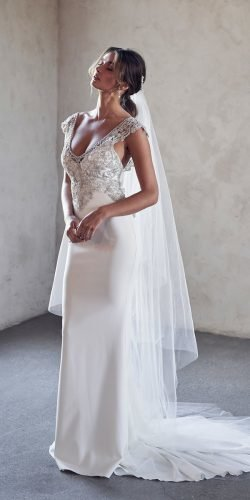 vintage inspired wedding dresses sheath lace top with veil jeweled anna canpbell