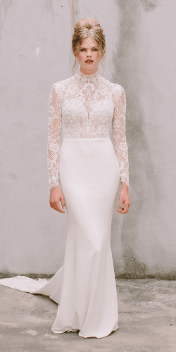 vintage inspired wedding dresses sheath with long sleeves high neck lace annageorgina