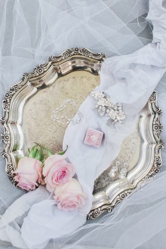 wedding photography trends bridal details ring earrings bracelets in pink box dyanna lamora