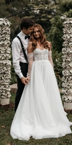 a line wedding dresses sweetheart neckline with sleeves country made with love