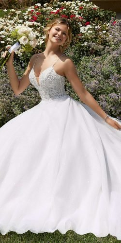a line wedding dresses with spaghetti straps beaded neckline country mori lee