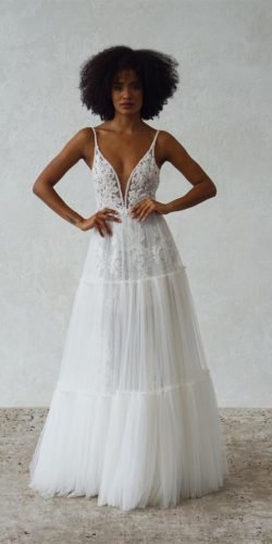a line wedding dresses with spaghetti straps lace boho made with love