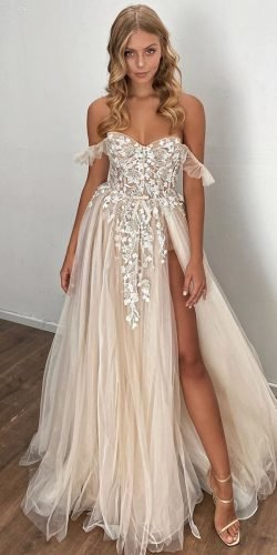 beach wedding dresses a line sweetheart neckline off the shoulder berta