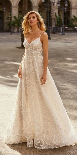 beach wedding dresses a line with spaghetti straps lace floral annasposagroup