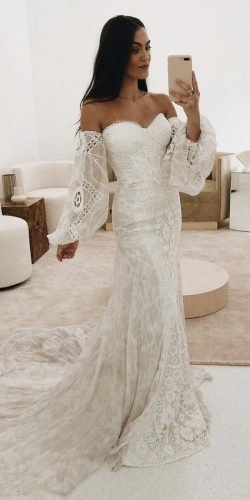 best wedding dresses sheath sweetheart neckline with sleeves boho ruedeseinebridal