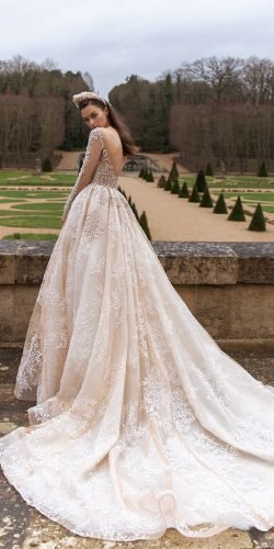 disney wedding dresses ball gown with illusion long sleeves v back lace pollardi