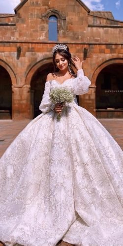 disney wedding dresses ball gown with sleeves off the shoulder sweetheart neckline avenya photo