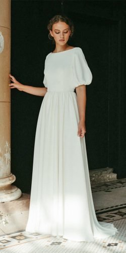 modest wedding dresses a line modest with cap sleeves simple dye