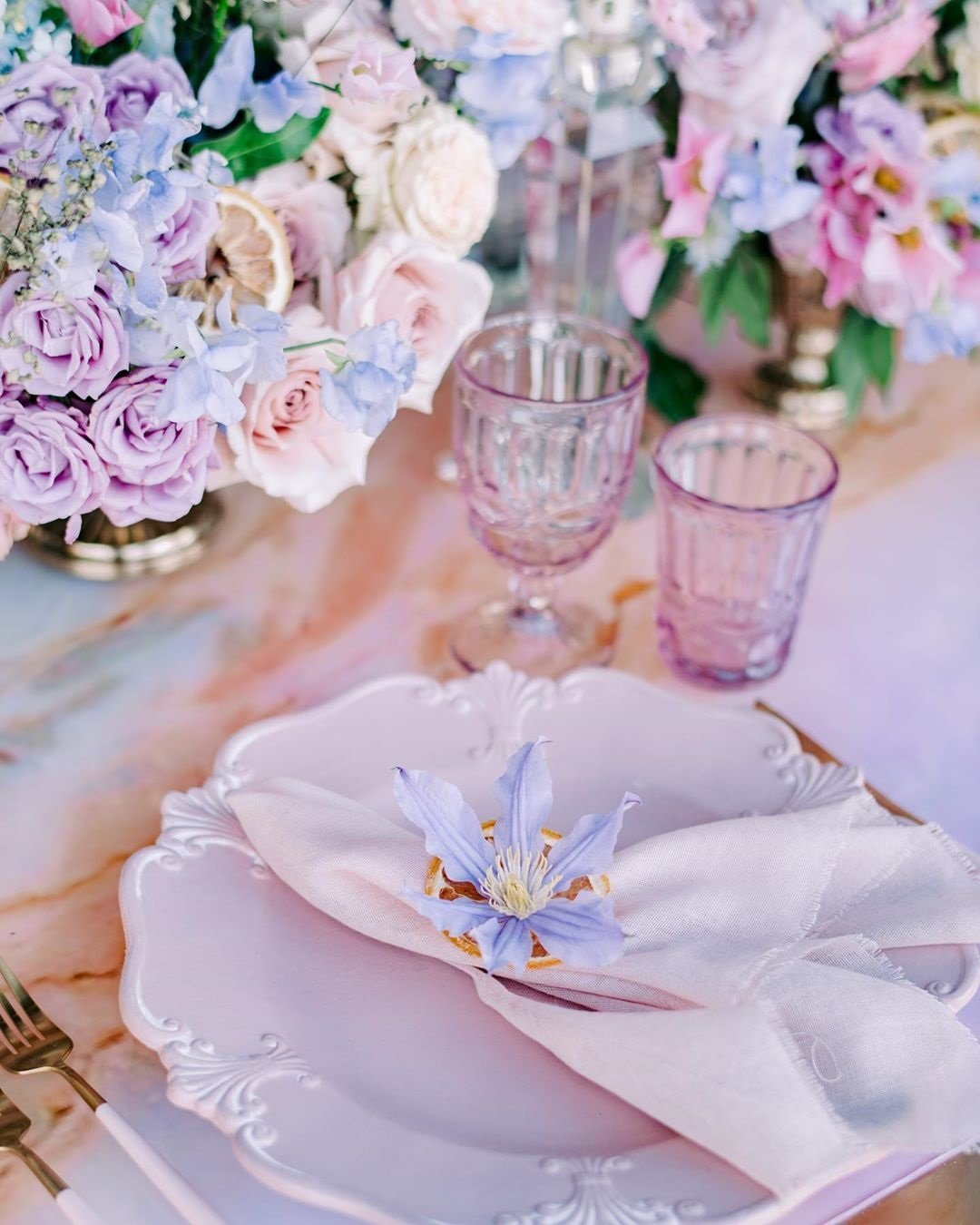 table decor violet lavender